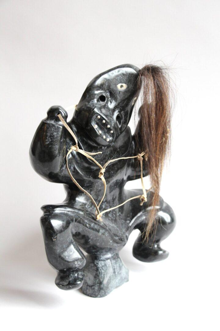 shaman Inuit Art Sculpture in basalt