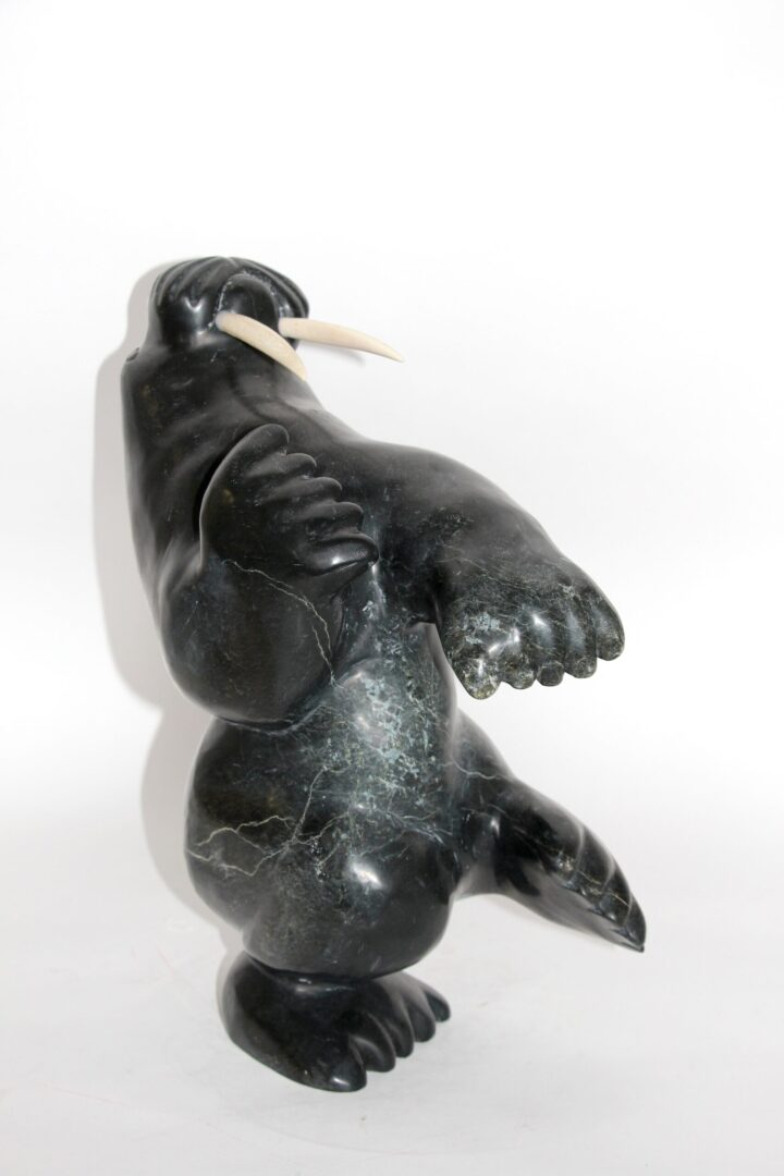 dancing walrus Inuit Art Sculpture in Serpentine