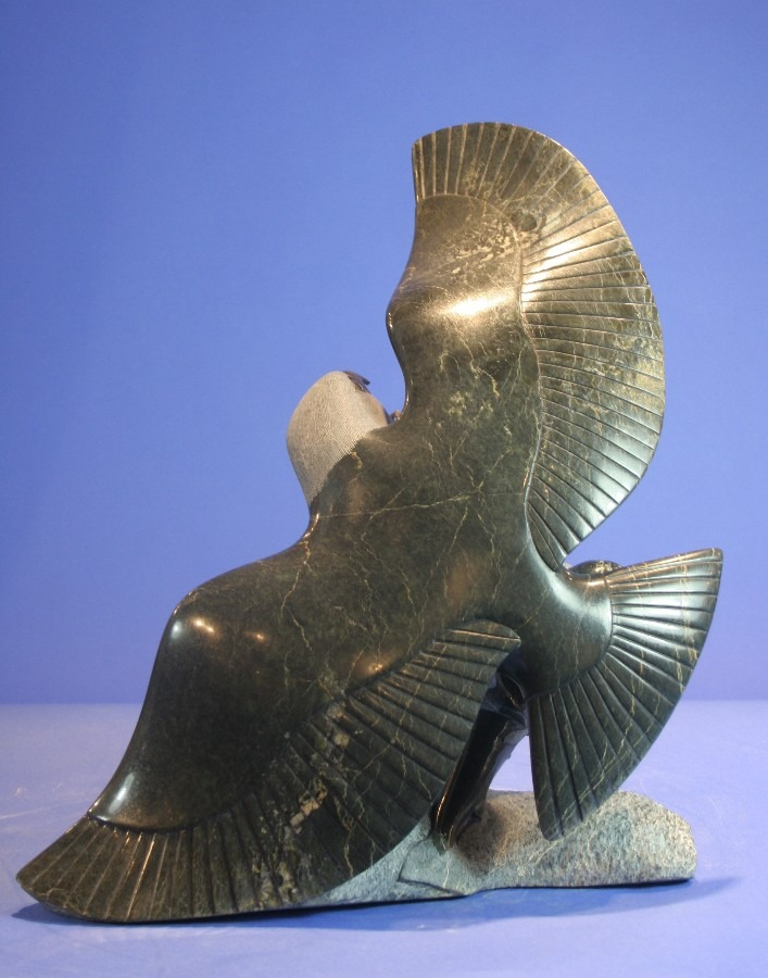eagle with fish Inuit Art Sculpture in Serpentine