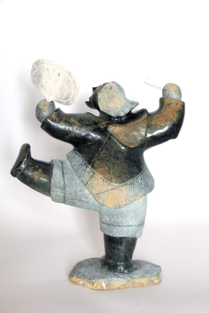 drum dancer Inuit Art Sculpture in Serpentine