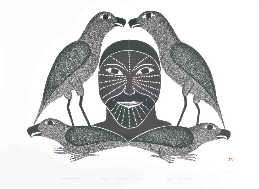 in the company of birds Inuit Art Litograph