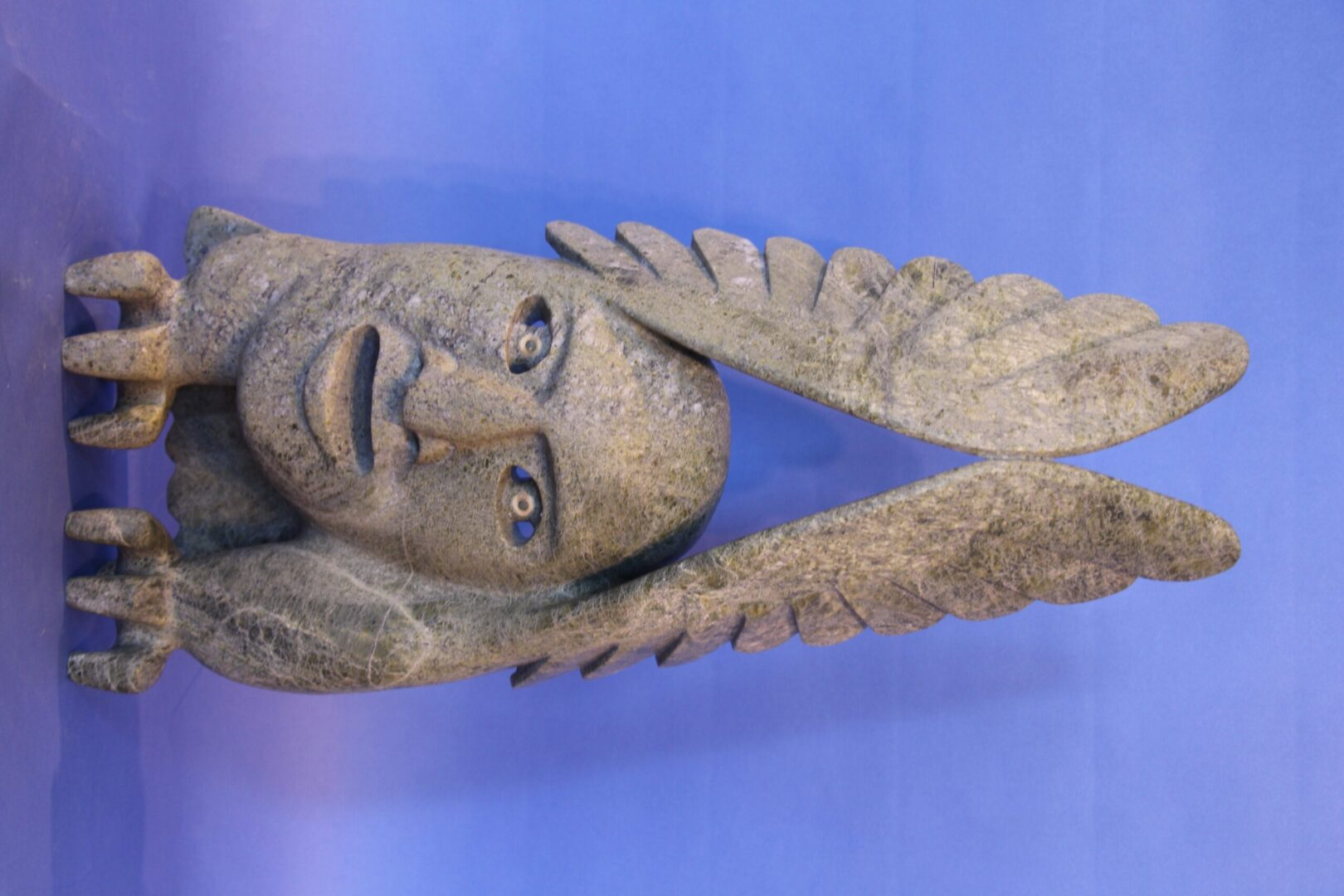 face with wings Inuit Art Sculpture in Serpentine