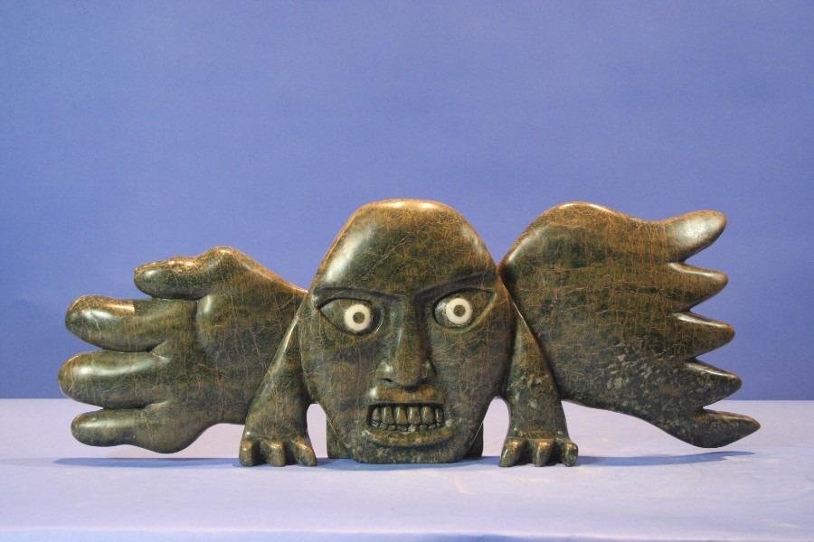 face Inuit Art Sculpture in Serpentine