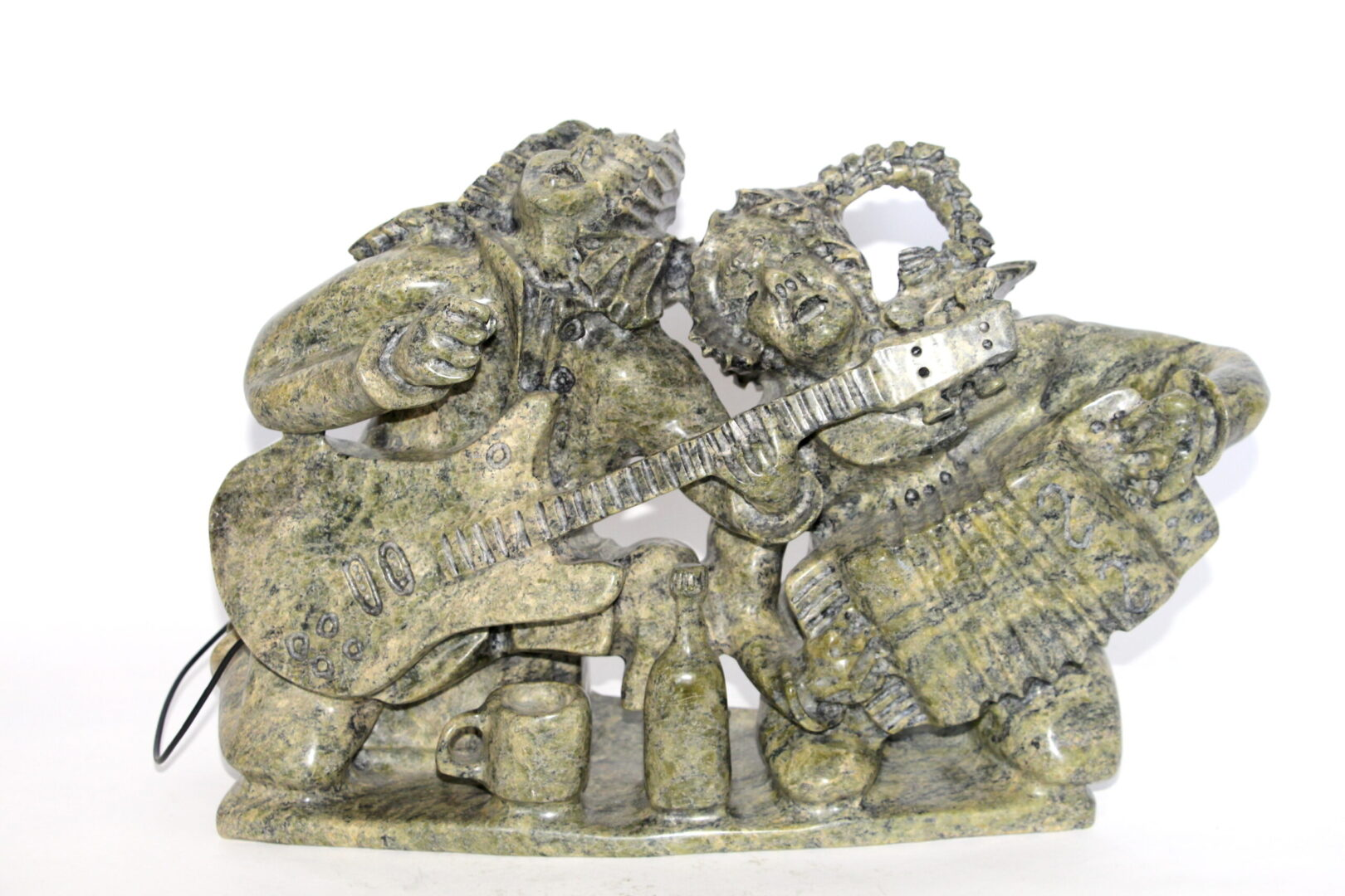 husband and wife band Inuit Art Sculpture in Serpentine