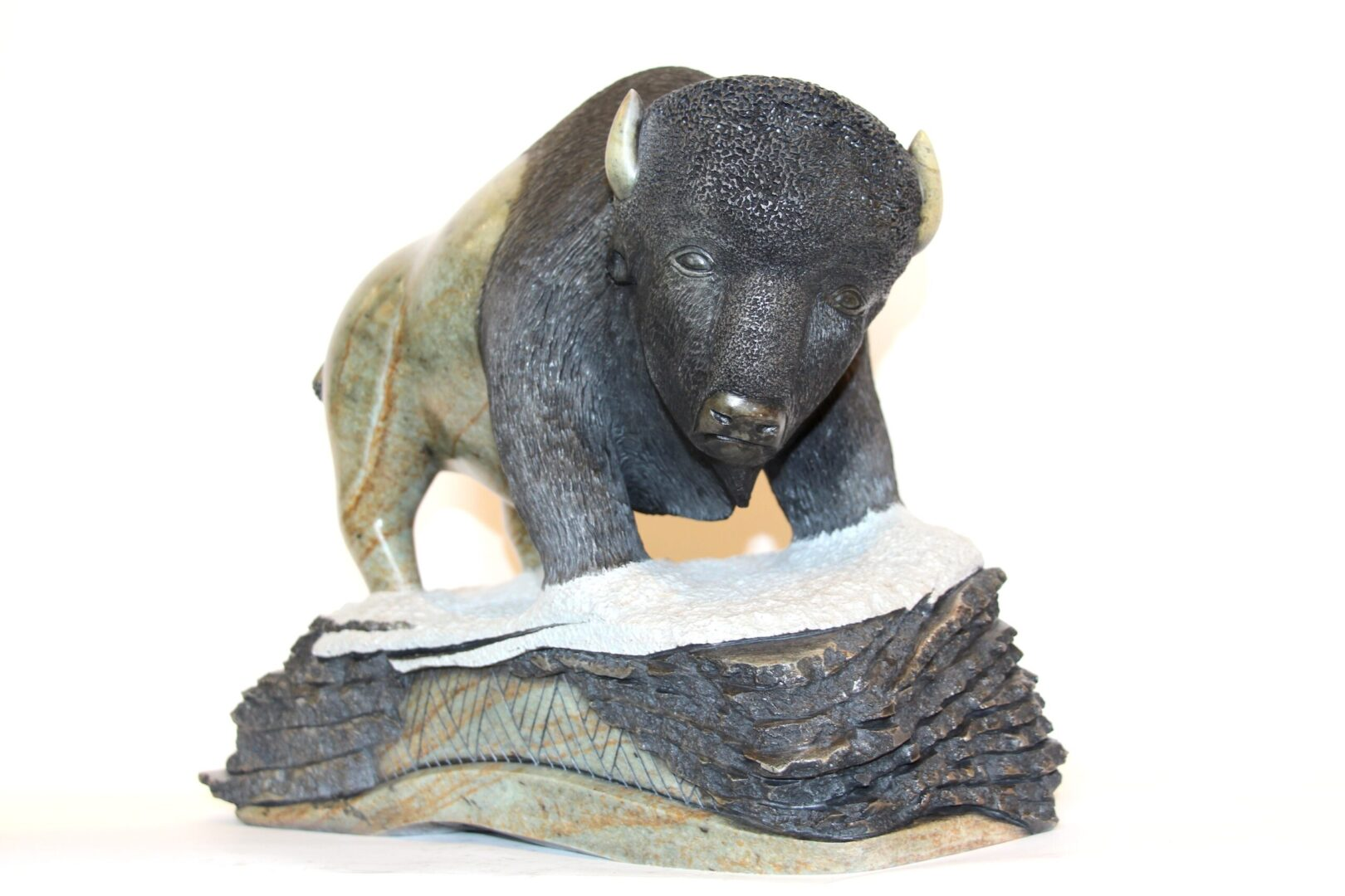 young buffalo Iroquois Art Sculpture in soapstone