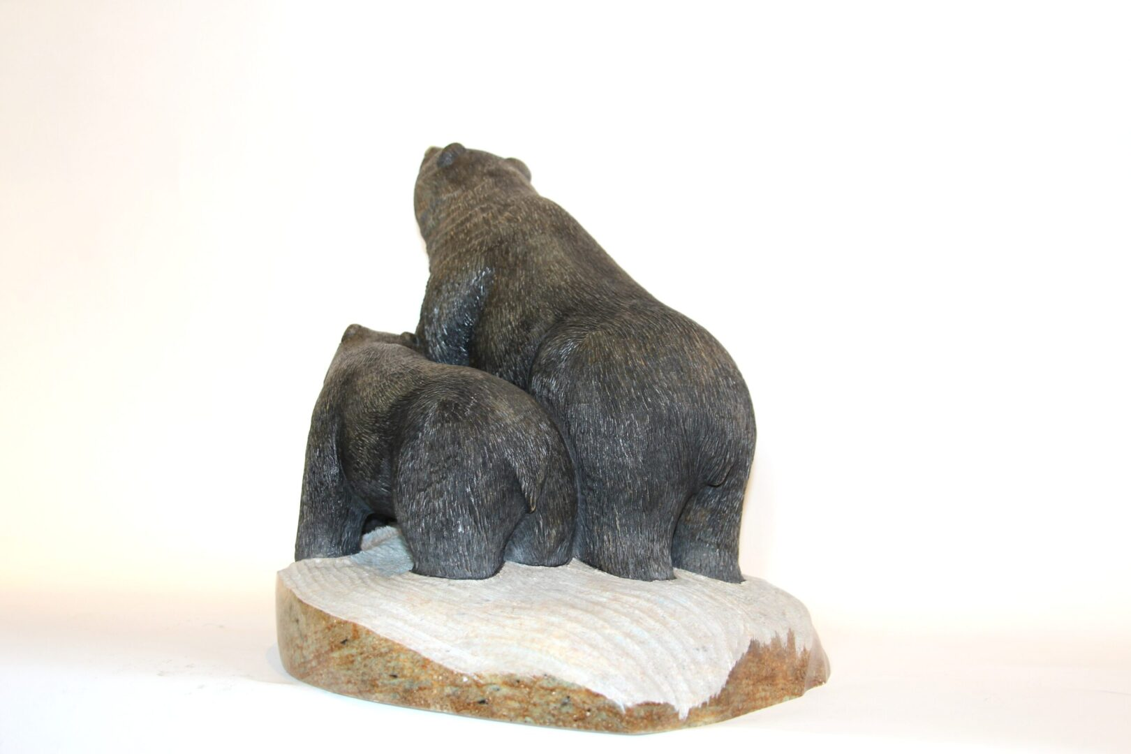 mother bear and cub Iroquois Art Sculpture in soapstone