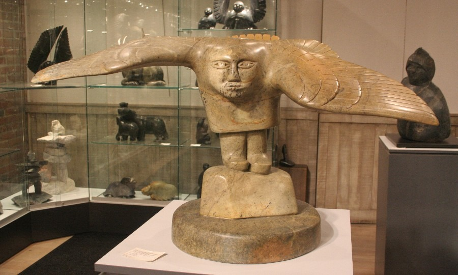 owl man Inuit Art Sculpture in soapstone