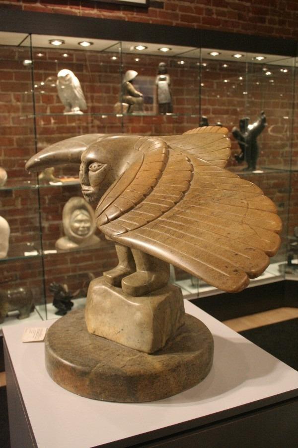 owl man Inuit Art Sculpture in soapstone