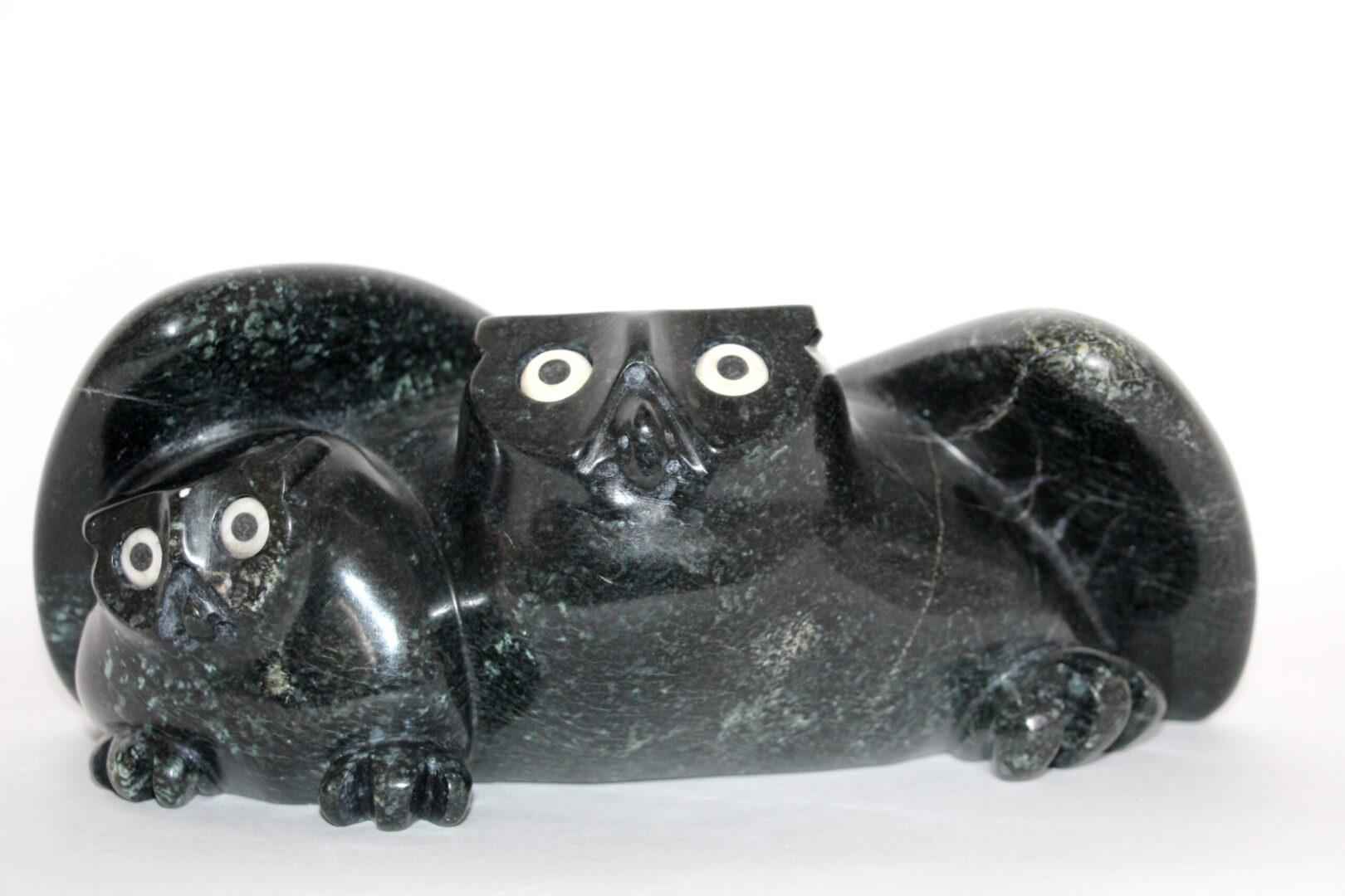 owls Inuit Art Sculpture in Serpentine