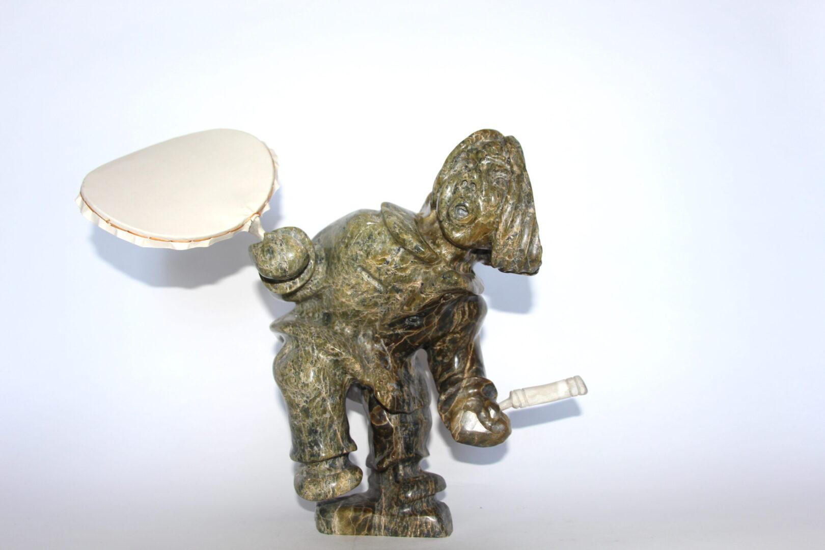 drum dancer Inuit Art Sculpture in Serpentine and caribou antler
