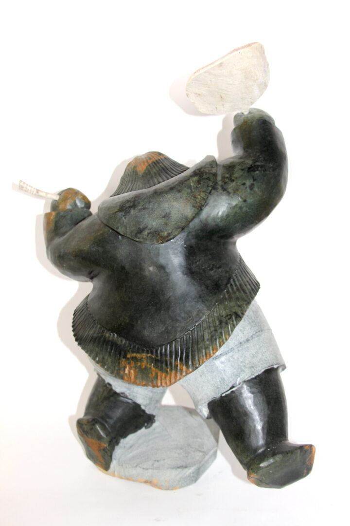 drum dancer Inuit Art Sculpture in Serpentine