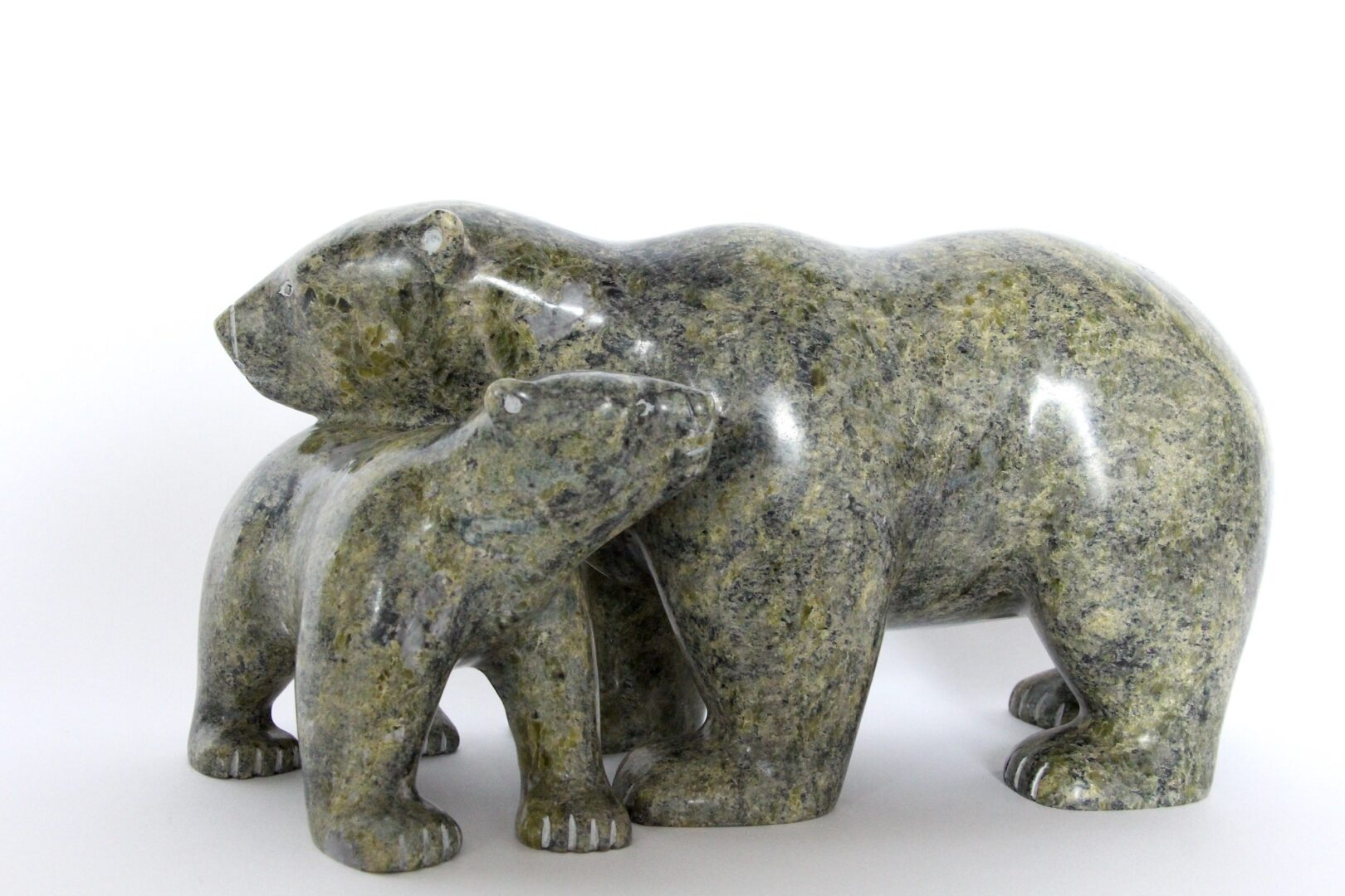bear and cub Inuit Art Sculpture in Serpentine
