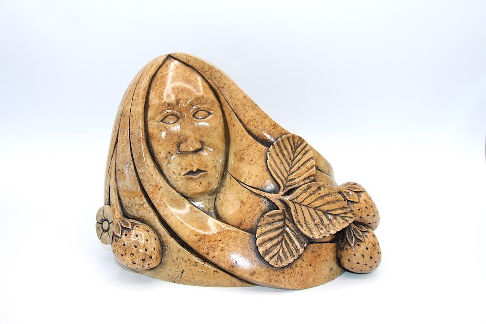 strawberry lady iroquois art sculpture soapstone oneida