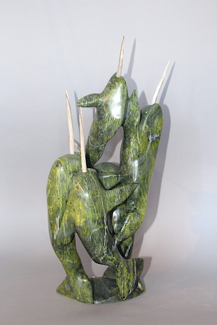 narwhal composition Inuit Art Sculpture in Serpentine