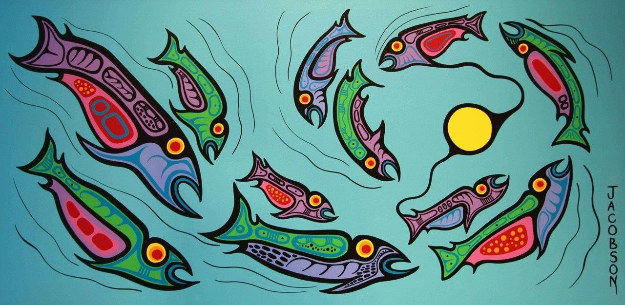 school of fish ojibway art painting