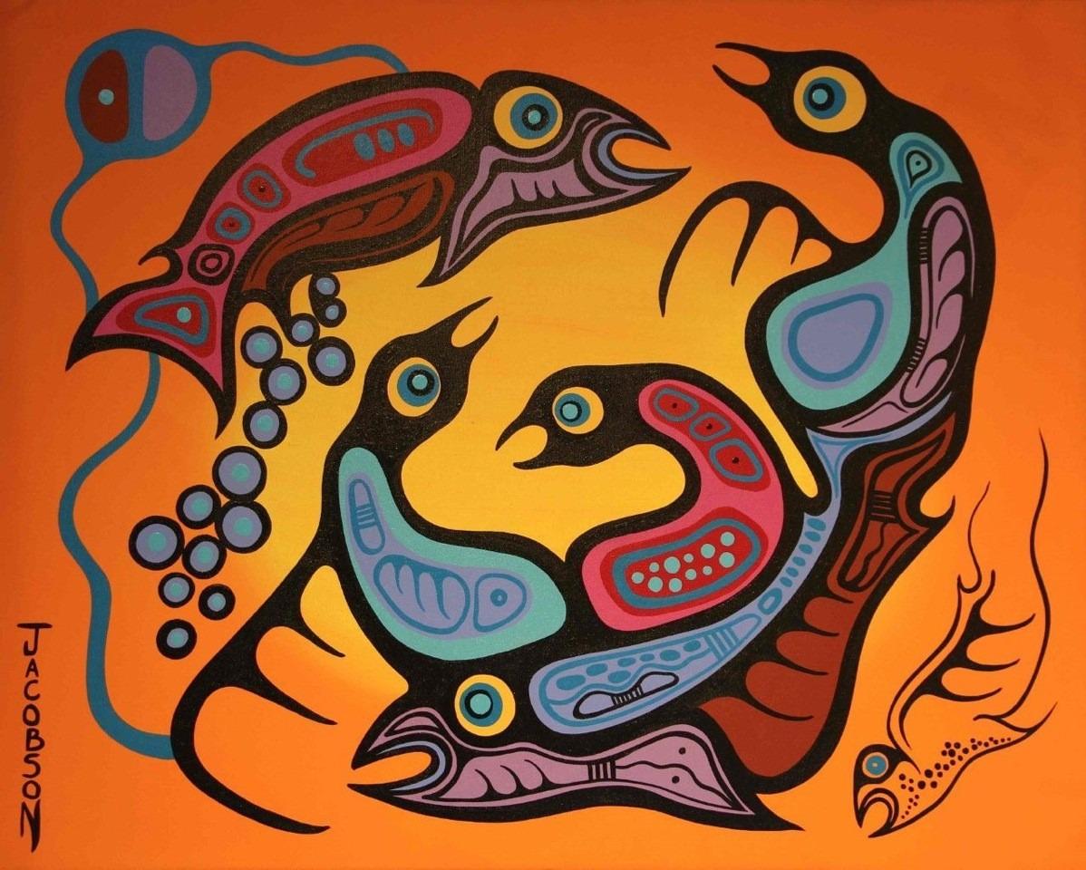 Nature Spirits at Play ojibway art painting