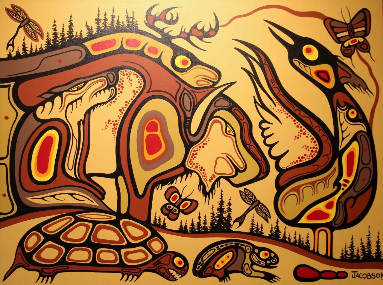 Animal Clan Council; Guardianship of Mother Earth ojibway art painting
