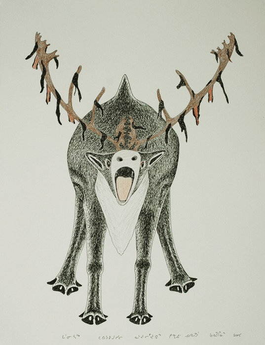 Caribou screaming Inuit Art Litograph