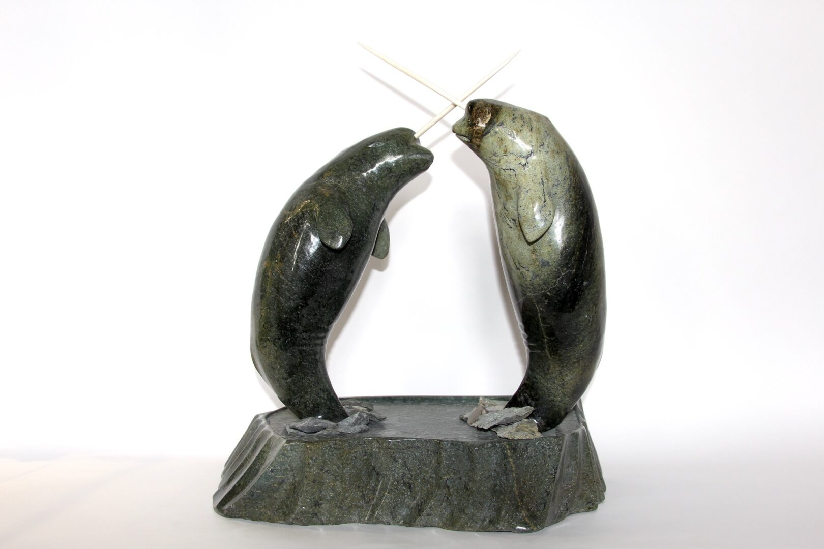 narwhals Inuit Art Sculpture in Serpentine