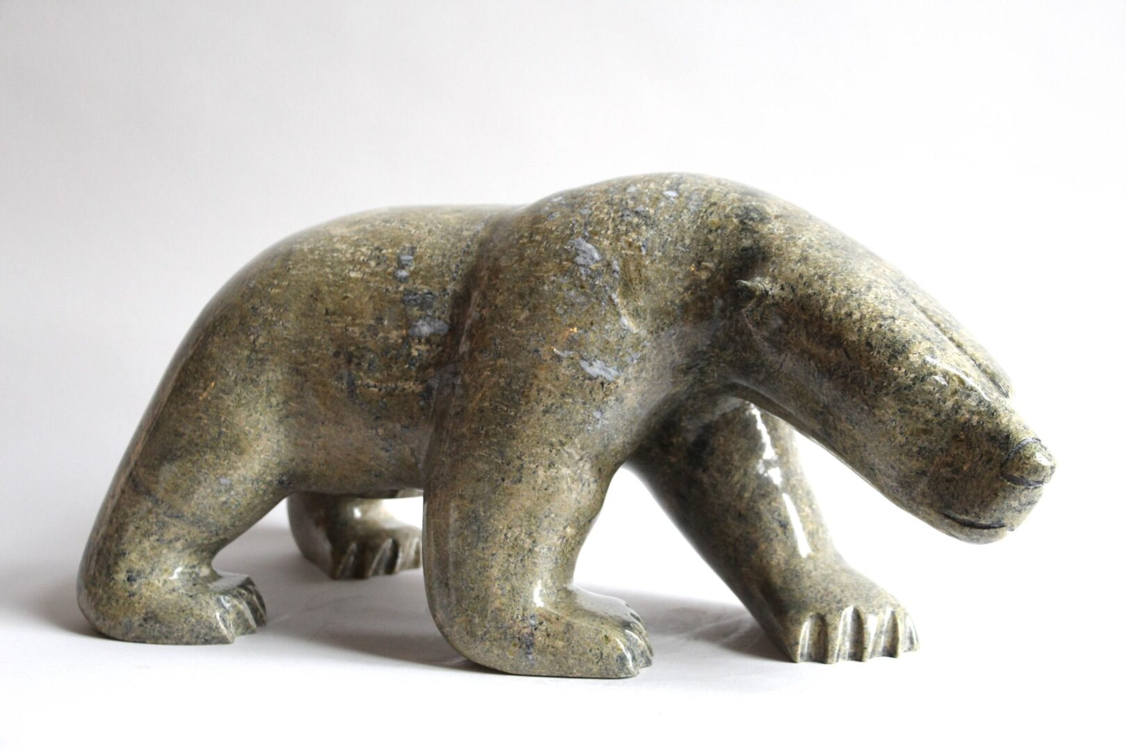 walking bear Inuit Art Sculpture in Serpentine