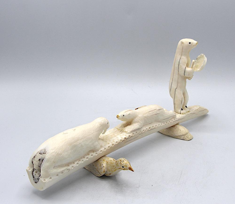bear drummer Inuit Art Sculpture in walrus ivory