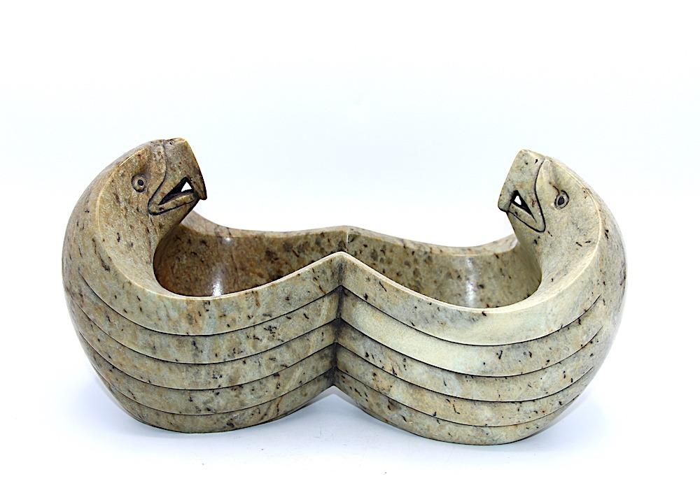 eagles iroquois art sculpture bowl soapstone