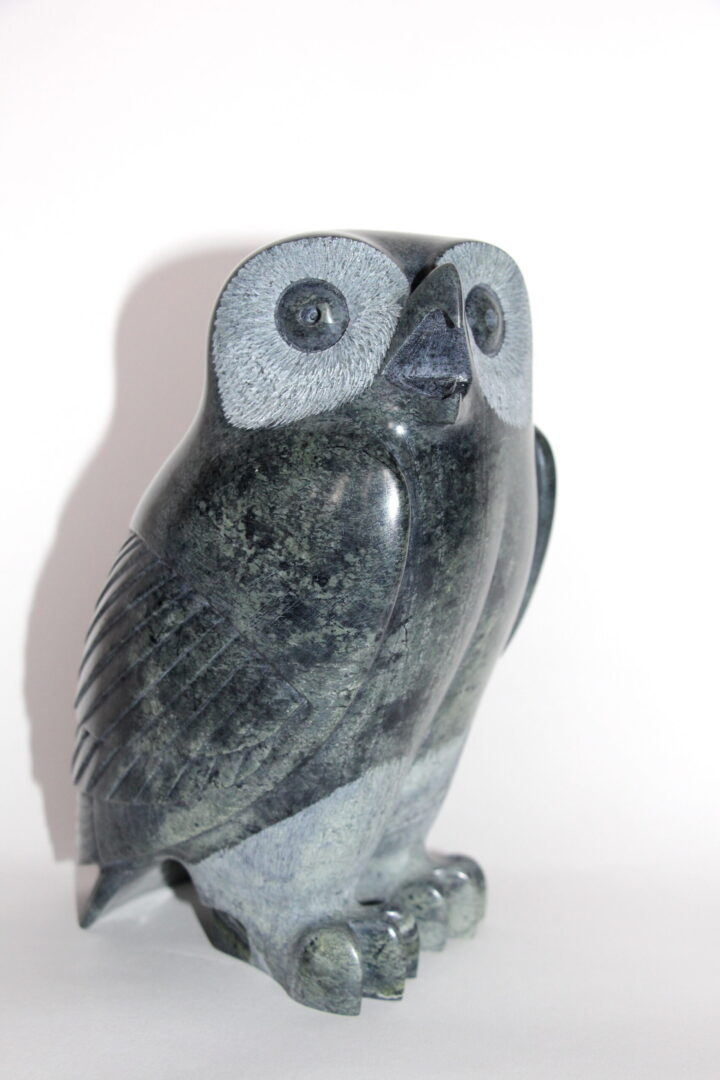 owl Inuit Art Sculpture in Serpentine