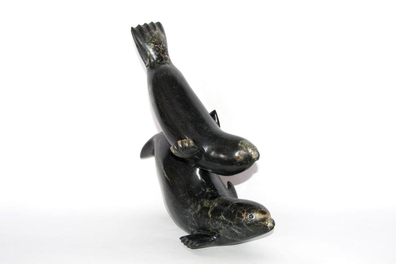 seals Inuit Art Sculpture in Serpentine