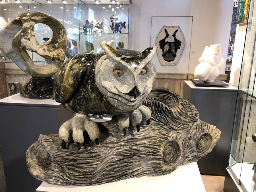 owl Ojibway Art Sculpture in Serpentine