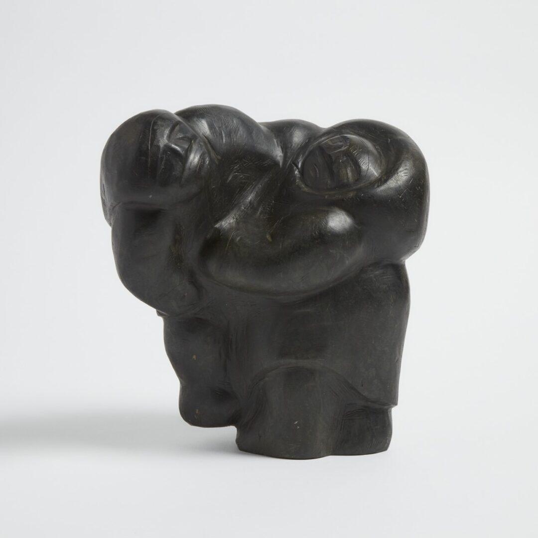 two figures Inuit Art Sculpture in basalt