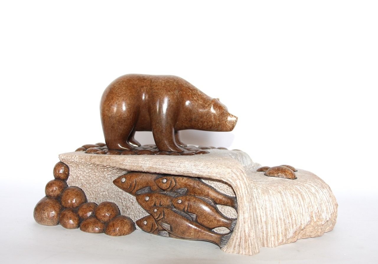 bear fishing in stream Iroquois Art Sculpture in soapstone