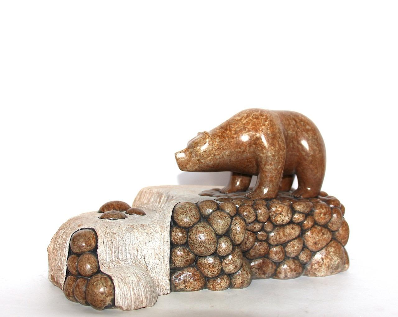 bear fishing in stream Iroquois Art Sculpture in soapstone