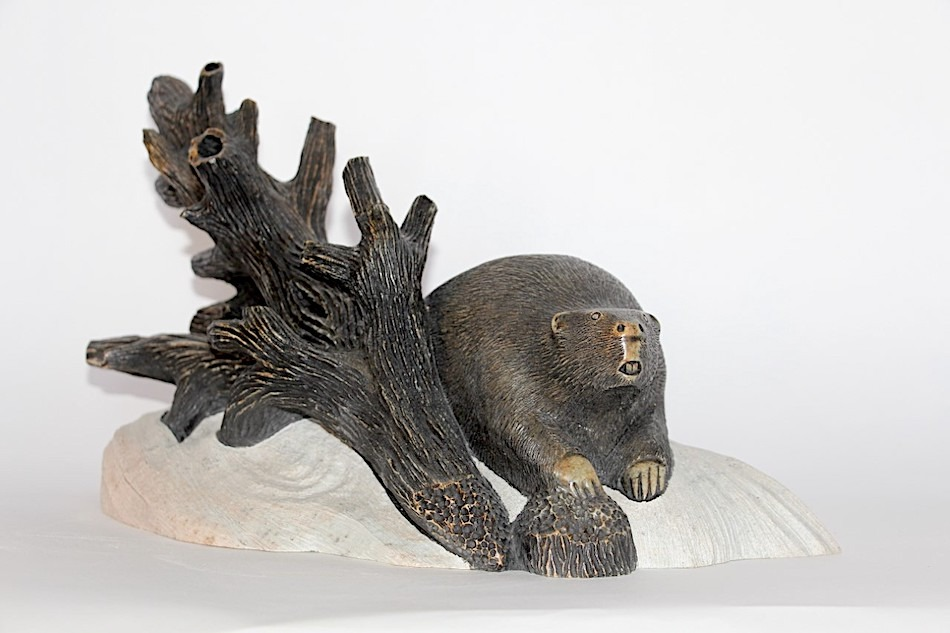 Beaver eric silver iroquois art sculpture soapstone