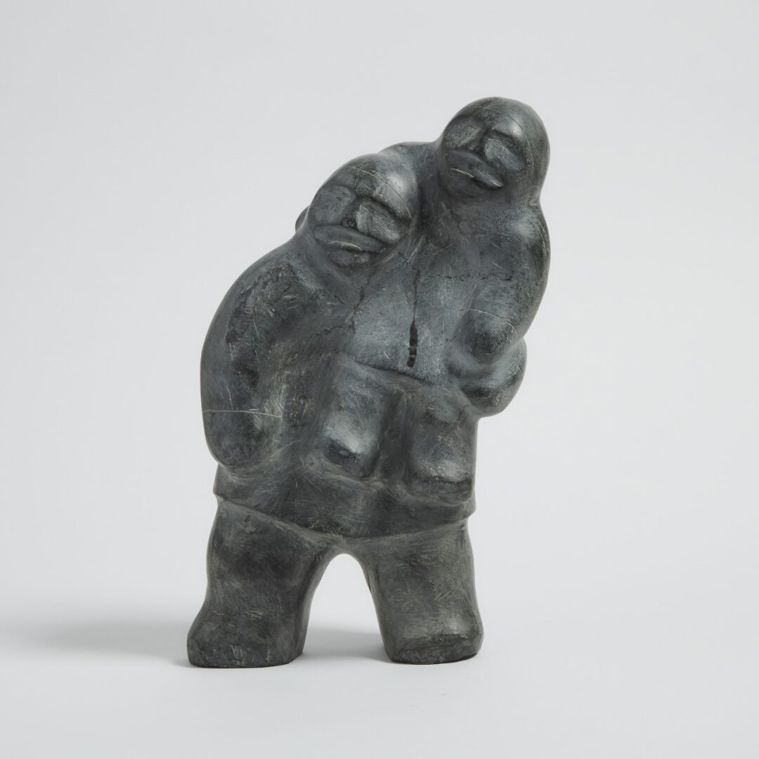 father and child Inuit Art Sculpture in basalt