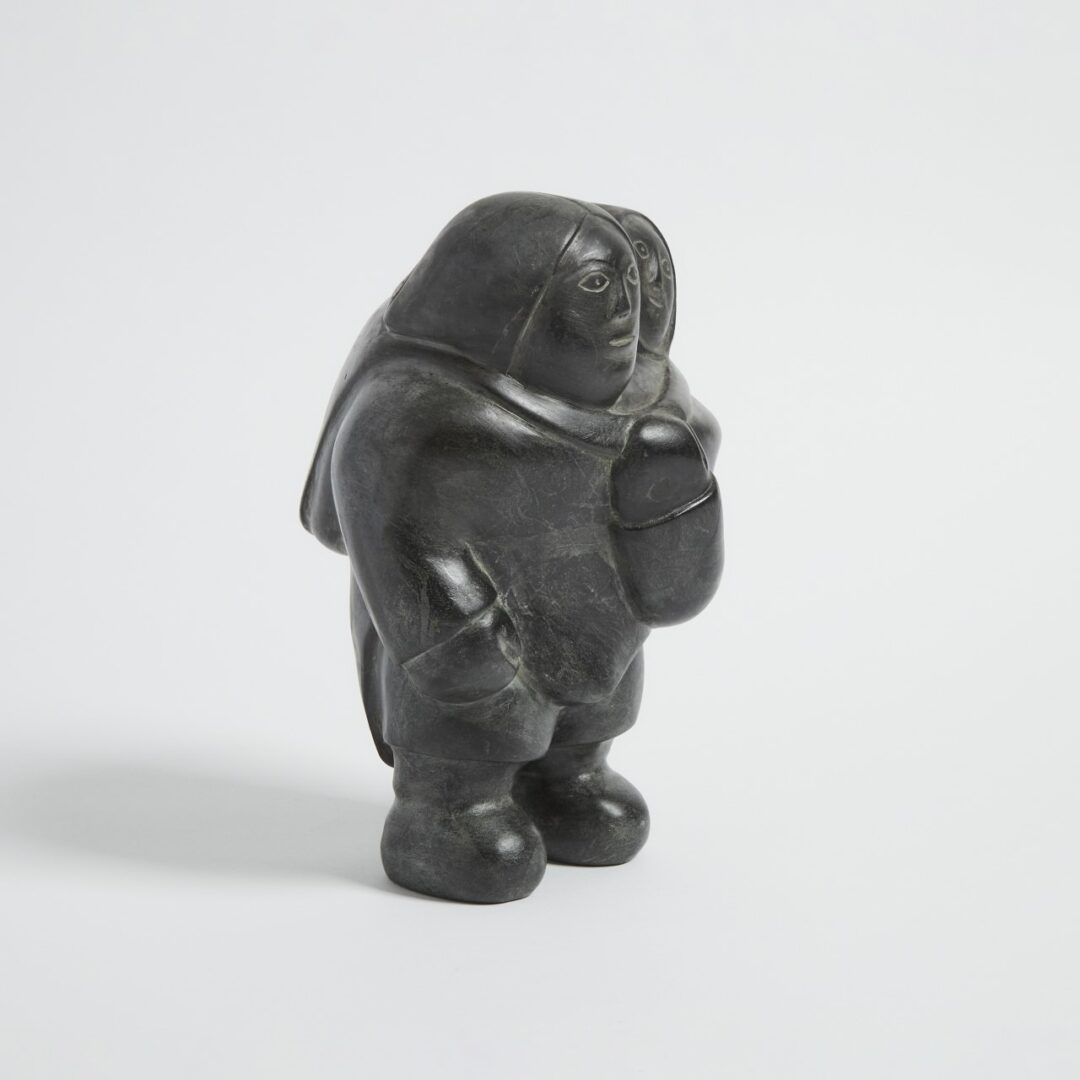 mother and child Inuit Art Sculpture in basalt