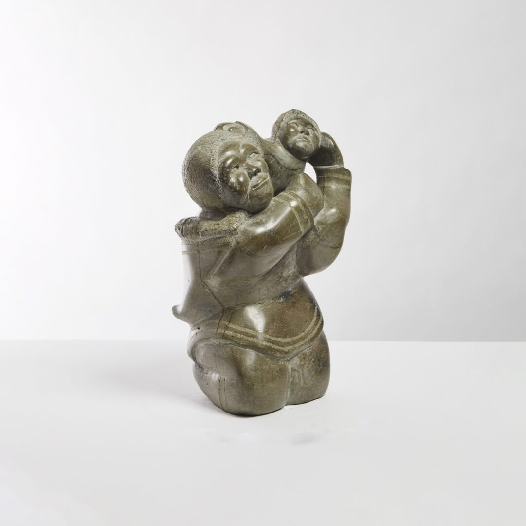 mother and child Inuit Art Sculpture in serpentine