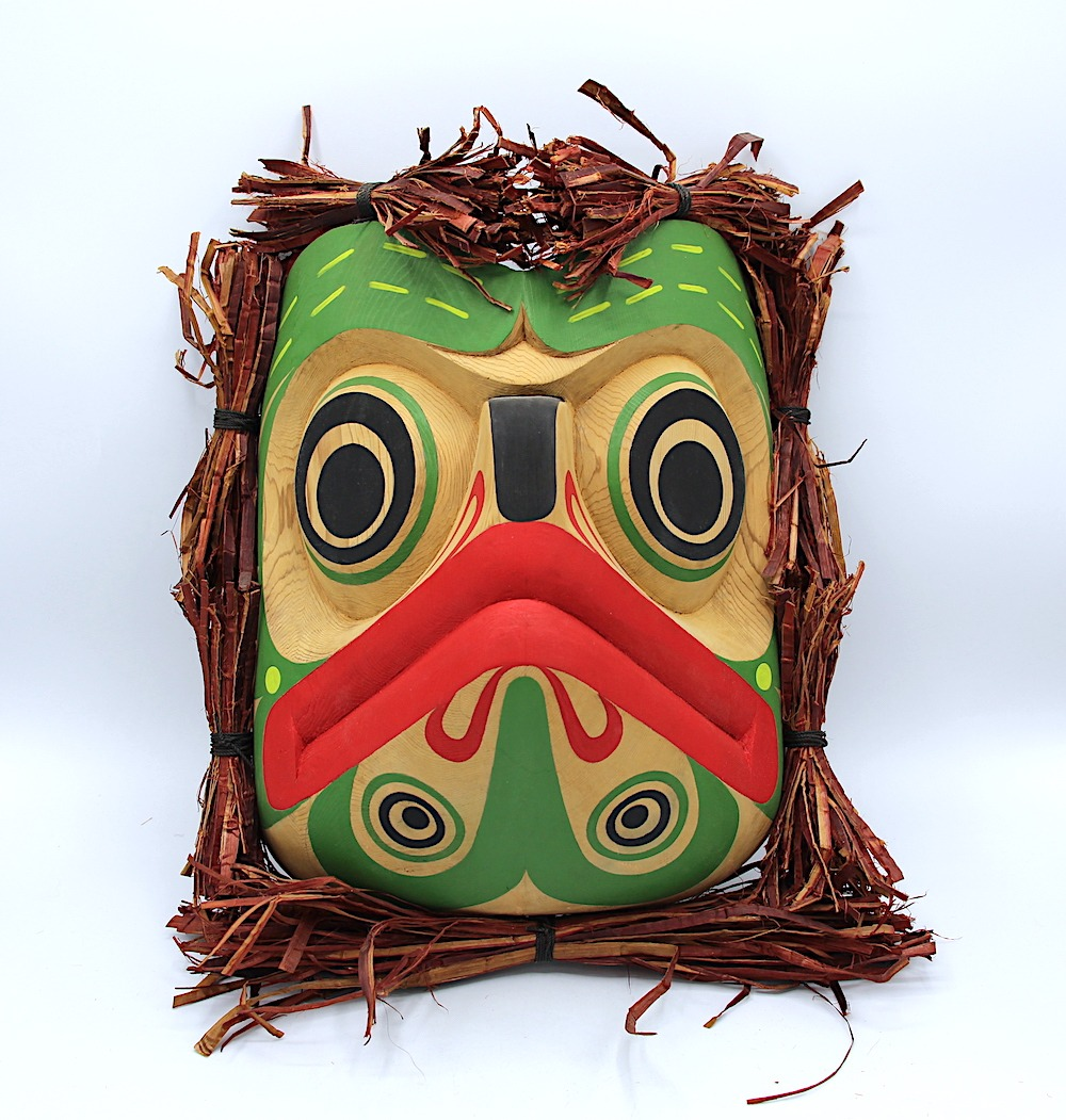 frog mask west coast art in cedar wood