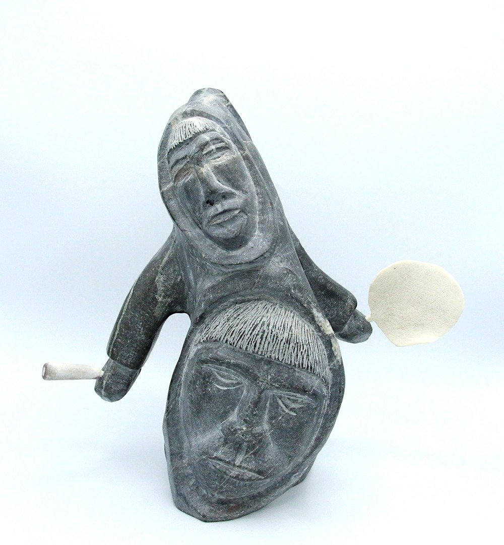 faces and drum dancers Inuit Art Sculpture in basalt