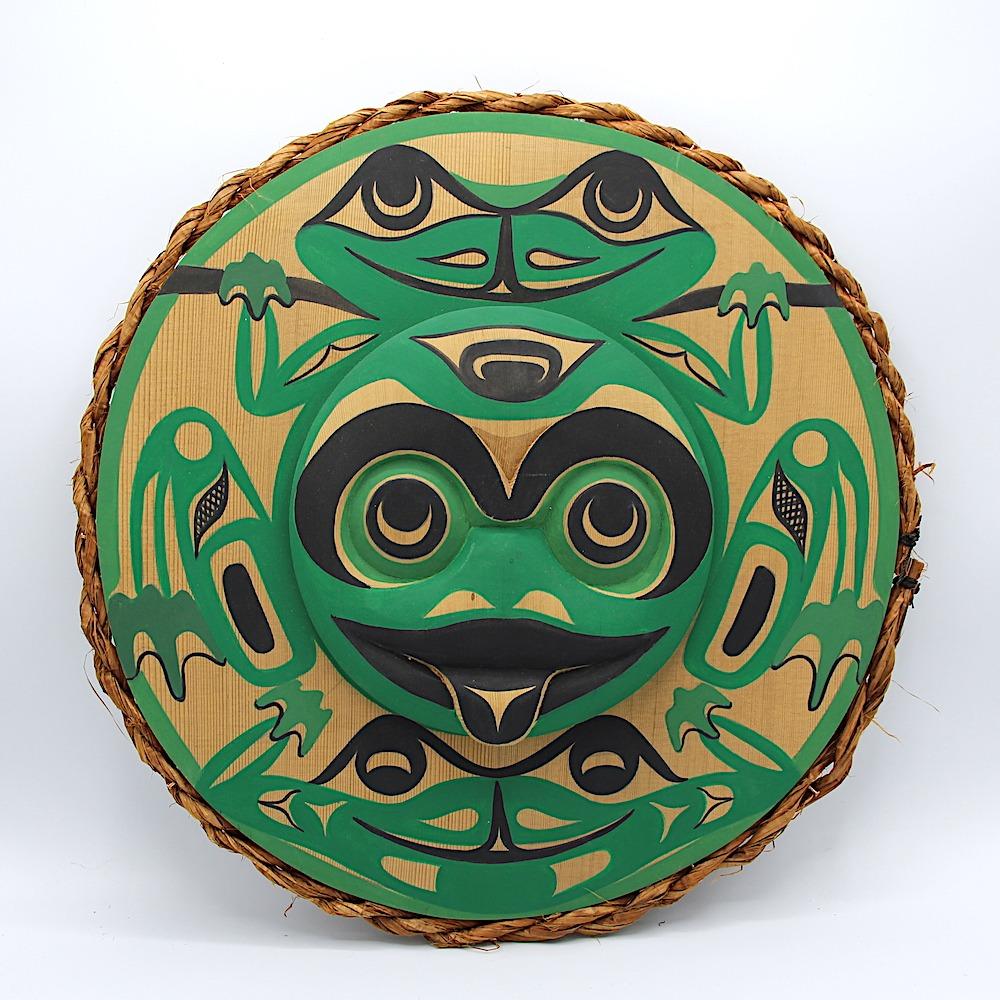 frog west coast art in cedar wood