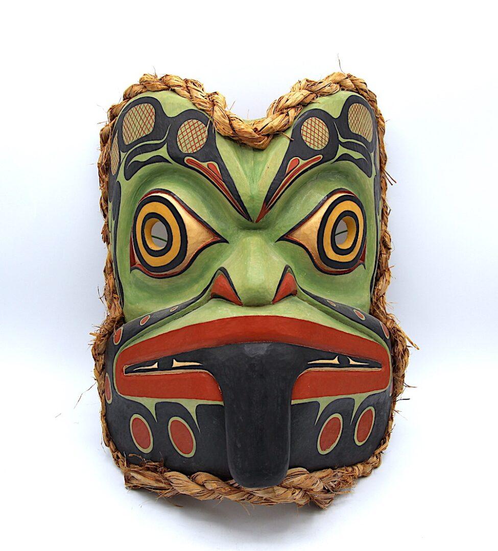 frog mask west coast art in cedar wood
