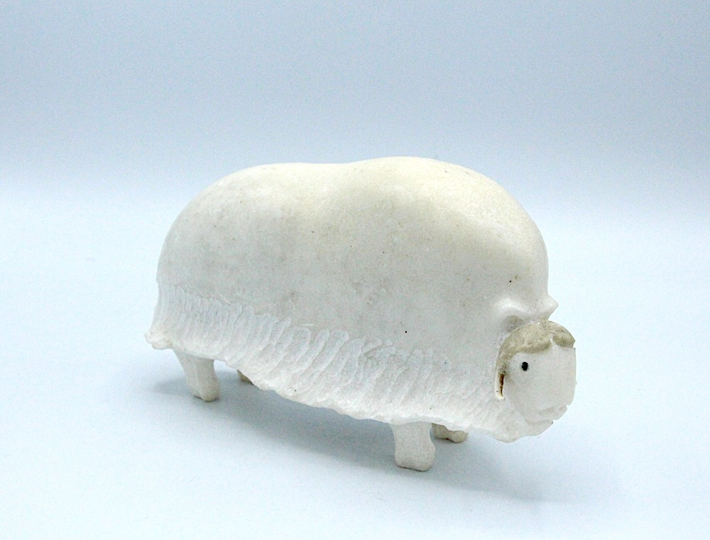 musk ox Inuit Art Sculpture in marble