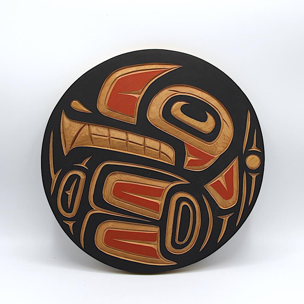 round orca killer whale plaque west coast art in cedar wood