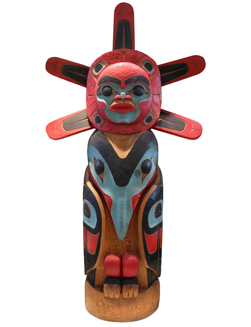 totem raven stills the sun west coast art in cedar wood