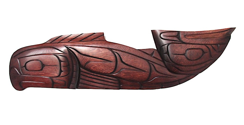 frog head salmon plaque west coast art in cedar wood
