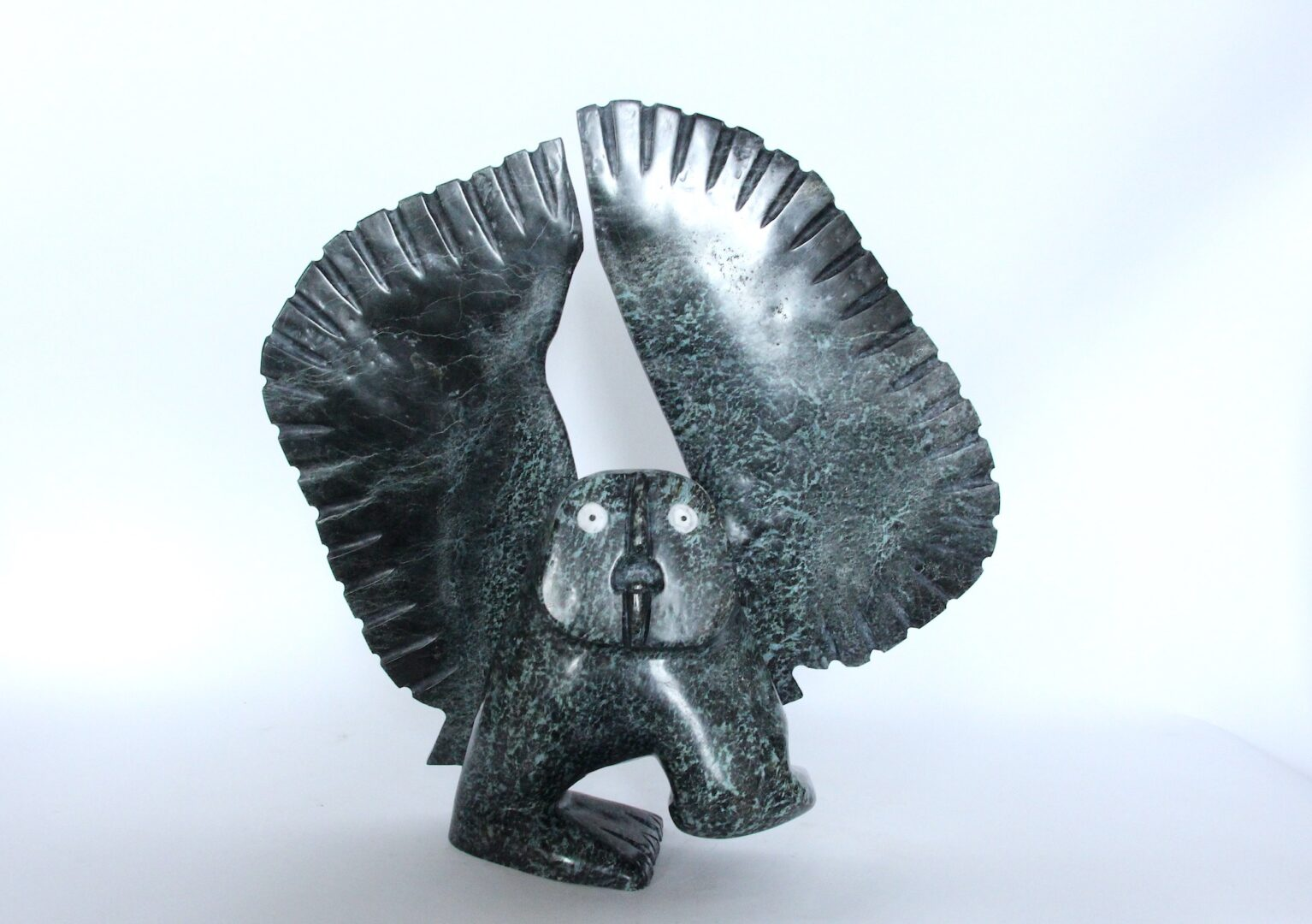 owl Inuit Art Sculpture in Serpentine
