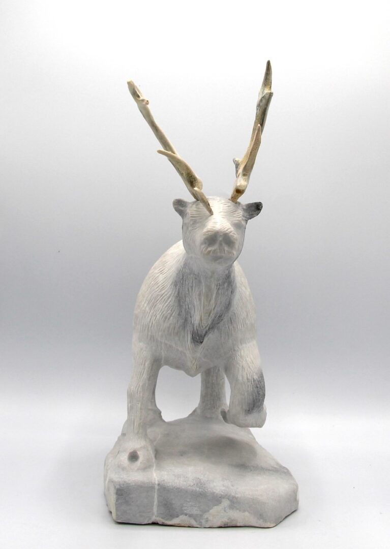 One original Inuit art sculpture hand carved in White Marble by Billy Merkosak ''Caribou 1003823-2