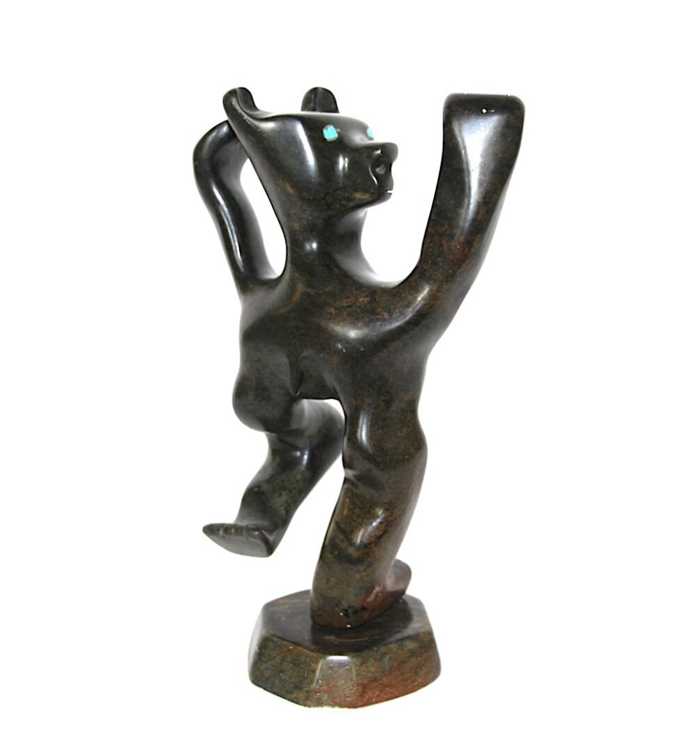 dancing bear inuit sculpture in soapstone