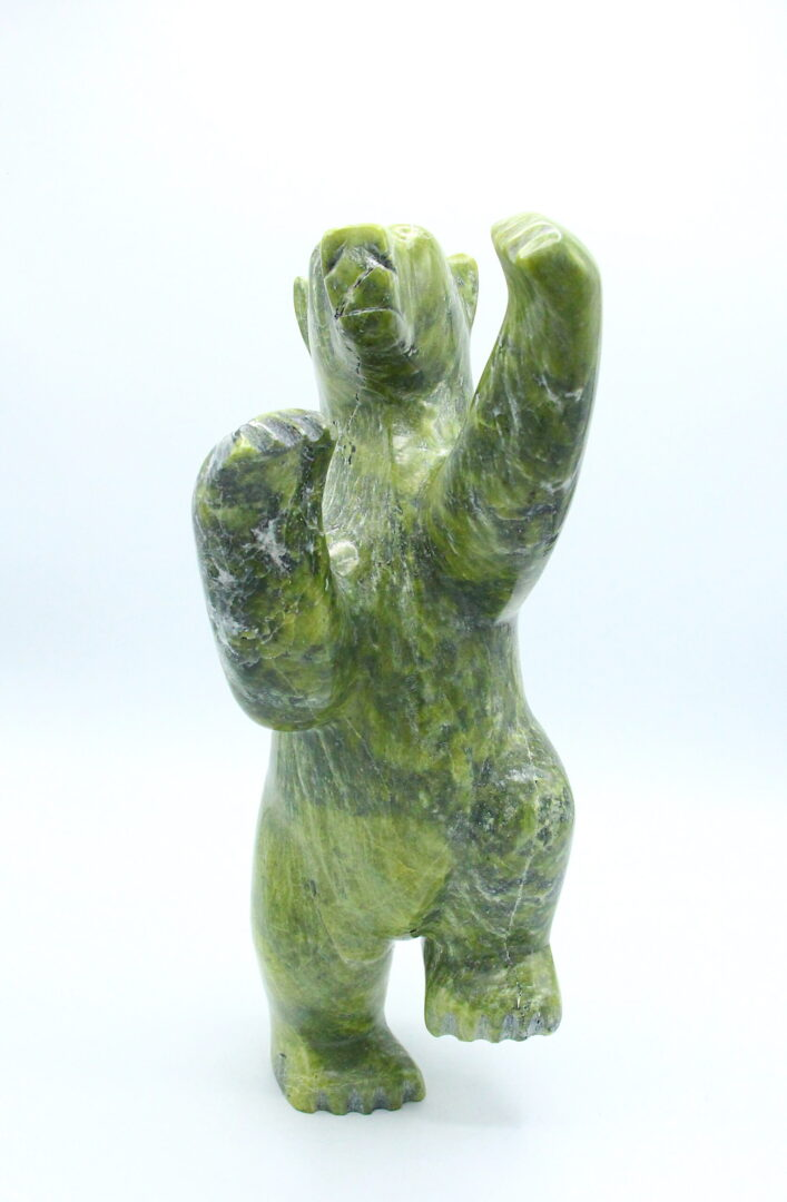 dancing bear Inuit Art Sculpture in Serpentine
