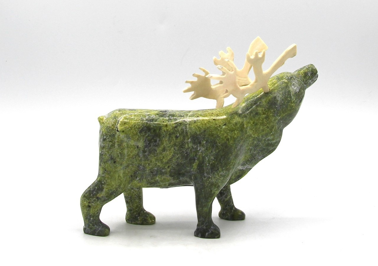caribou inuit art sculpture cape dorset serpentine