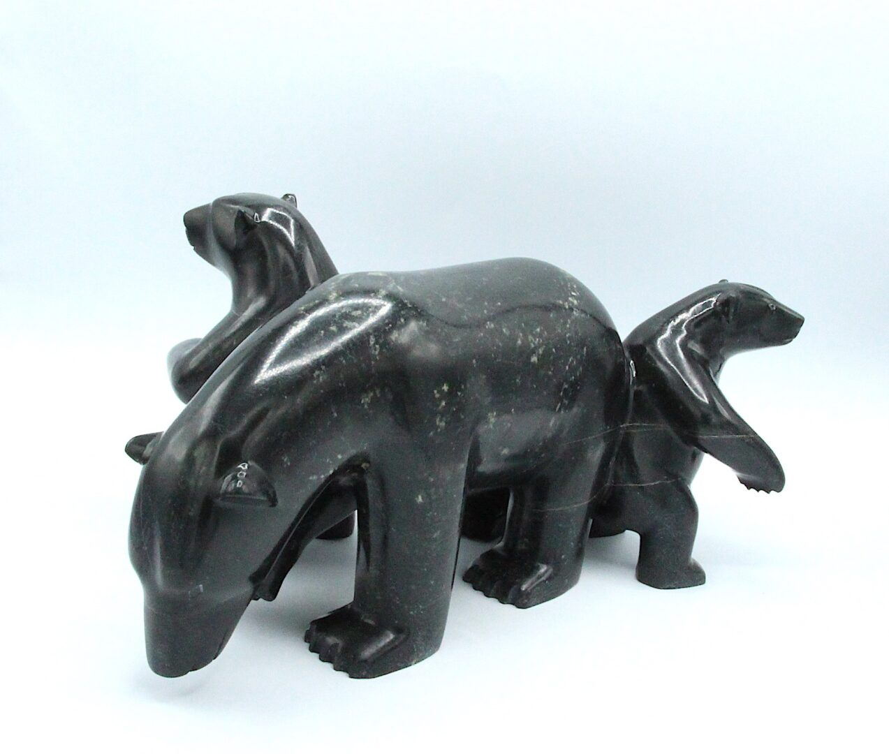bear with 2 cubs Inuit Art Sculpture in Serpentine
